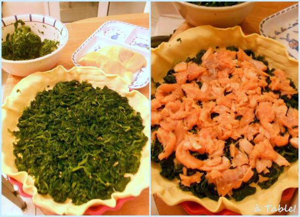 киш c лососем и шпинатом