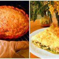 Открытый пирог с лососем и шпинатом
