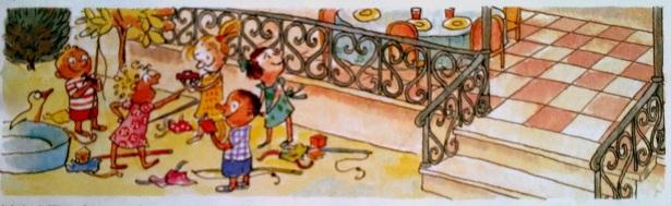 Mais Millie n'a pas du tout envie d'être triste pour son anniversaire. Elle dit: On va jouer à autre chose. Et si on faisait une cabane sous la table? Oh oui! crient ses amis.