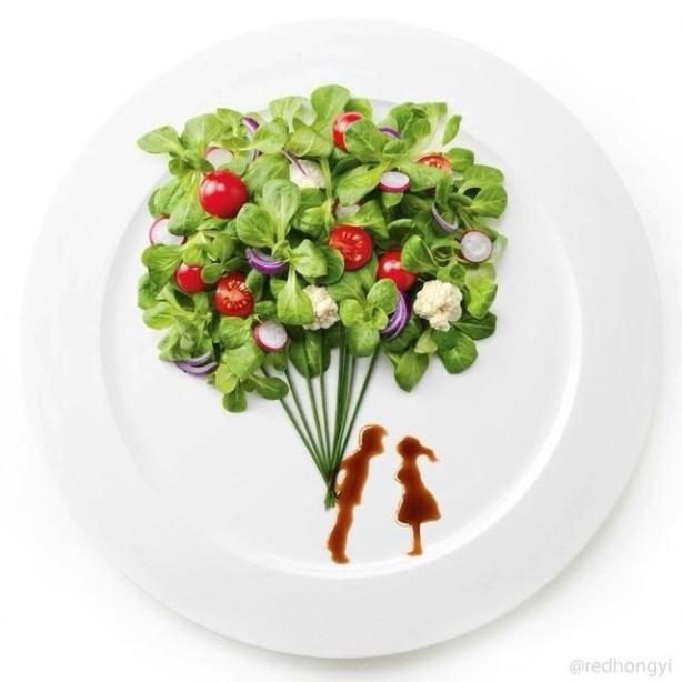 """""""Всё, что тебе нужно - это любовь..."""" и салад :) Арт-фуд проект выполнен  Hong Yi для    Florette France Food Service"""