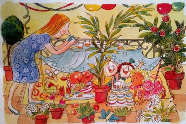 C'est ainsi que, cette année, Milie souffle ses bougies...par terre! Joyeux anniversaire! chantent ses amis, la bouce plaine de bonbons. Milie est heureuse! Et Georges se dit qu'il aimerait bien dormir ici, ce soir, avec tous les amis de Milie, et son canard chéri.