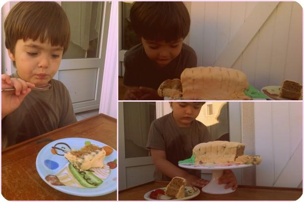 Главный Дегустатор сначала разглядывал весь кусок,  потом осторожно притянул к себе и стал попробовать сахарную мастику, а потом уже и полностью увлекся десертом!
