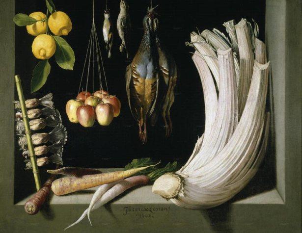 Хуан Санчес Котан. Натюрморт с дичью, зеленью и фруктами.
