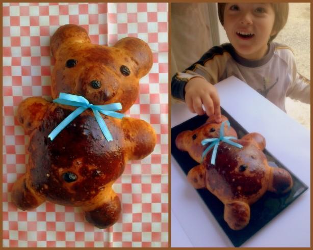 Nous avons fait un beau Petit Ours Brun pour l'anniversaire de papa Bruno :)