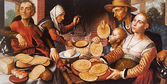 """Dicton du jour : """" A la chandeleur , l 'hiver meurt ou reprend vigueur """" , Pieter Aertsen , peintre hollandais (1508-1575) : les crèpes (1562). Изречение дня: """" В Cретенье зима умирает или вступает в силу"""", Питер Арцан, голландский художник (1508-1575): блины (1562)."""