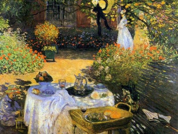"""Claude Monet, """"Le déjeuner"""",1872-74. Le repas achevé, Camille se promène dans le jardin baigné de lumière en compagnie d'un invité non identifié, cependant que Jean joue à l'ombre de la table. De toutes les scènes de jardin que monet exécuta au cours de sept années à Argenteuil, celle-ci est la plus grande et la plus remarquable."""