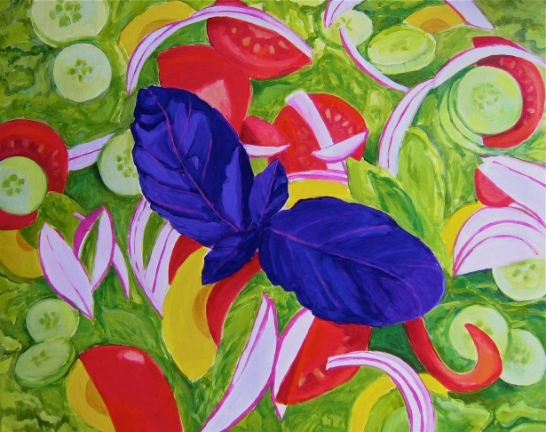 Green salad with opal basilic, artist Toni Silber-Delerive, USA