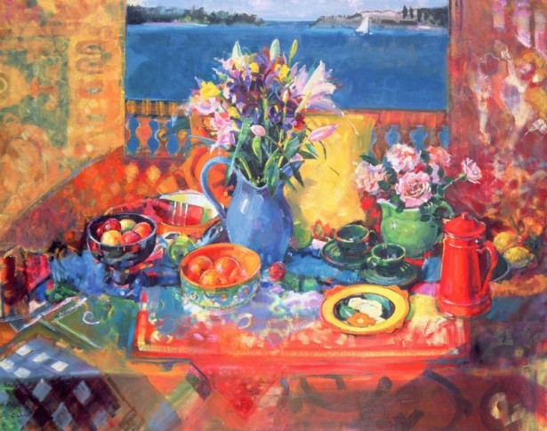 THE BALCONY TABLE (OIL ON CANVAS) - PETER GRAHAM