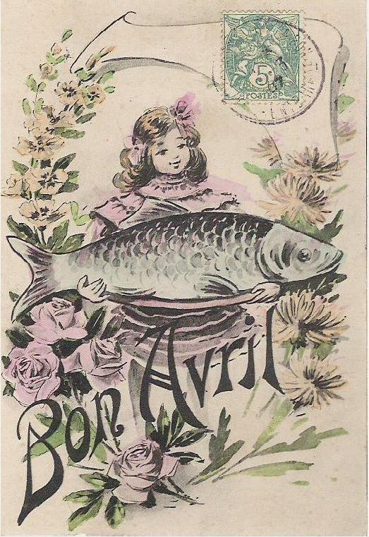 Poisson d'Avril — французская первоапрельская открытка. 1900-е годы Подробнее: http://cyclowiki.org